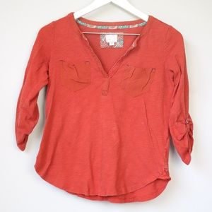 Postage Stamp Anthro Red 3/4 Sleeve Blouse Top